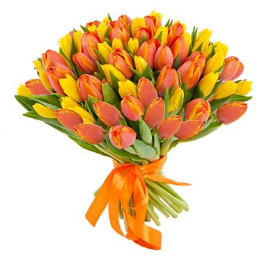Желтые и оранжевые тюльпаны